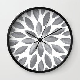 Grey Flower Burst Wall Clock