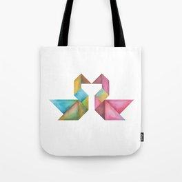 Tangram Swans Tote Bag