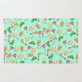 Fun Summer Watercolor Painted Mixed Drinks Pattern Rug