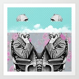 Vintage clouds in your head Art Print