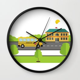 Bus Arriving To School Wall Clock