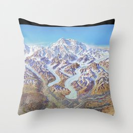 Heinrich Berann - Panoramic Painting of Denali National Park with labels (1994) Throw Pillow