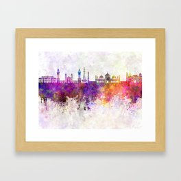 Lahore skyline in watercolor background Framed Art Print