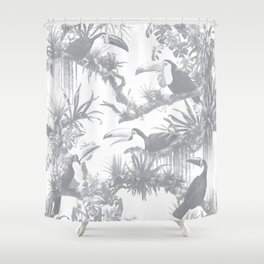 Toucans and Bromeliads - Sharkskin Grey Shower Curtain