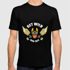 Get Wild And Free MEDIUM Black Mens Fitted Tee
