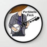 david fleck Wall Clocks featuring PortoBella Fleck  by Pattavina