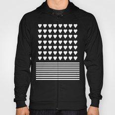 Heart Stripes White on Black Hoody