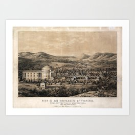 University of Virginia, Charlottesville & Monticello (1856) Art Print