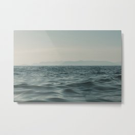 Calm sea | Soft waves in Toscane, Italy | Pastel, blue color | Hills in the background | Fine art travel photography Metal Print