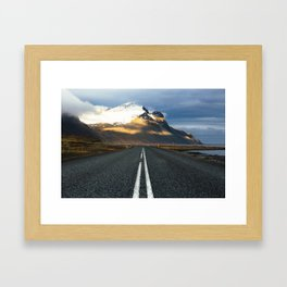 Sunlight on Mountains, Iceland Framed Art Print