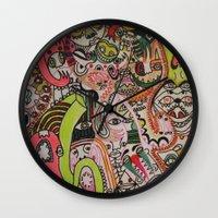 miles davis Wall Clocks featuring miles davies by Dan Feit