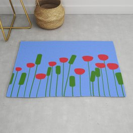 Poppies in blue Rug