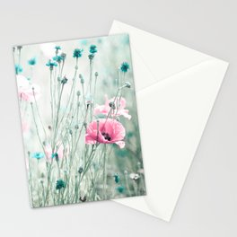 Pink Mint Aqua Teal Turquoise Floral Photography, Girls Room Nursery Feminine, Spring Nature Photo Stationery Cards