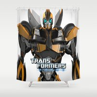 transformers Shower Curtains featuring Transformers Prime by giftstore2u