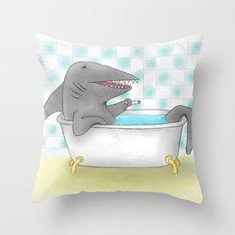 Shark bath Throw Pillow
