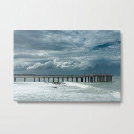 Storm over the pier of Miramar. Metal Print