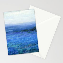 Bluebonnet Panoramic Landscape in Twilight painting by Robert Julian Onderdonk Stationery Cards