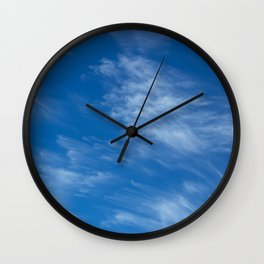 Background with cirrus clouds on a blue sky Wall Clock
