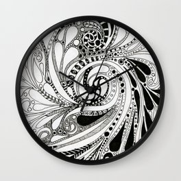 Swirling Around Monochrome Wall Clock