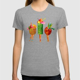 Tiki Cocktail Pin-Ups - Black T-shirt