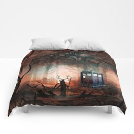 TARDIS IN THE FOREST Comforters
