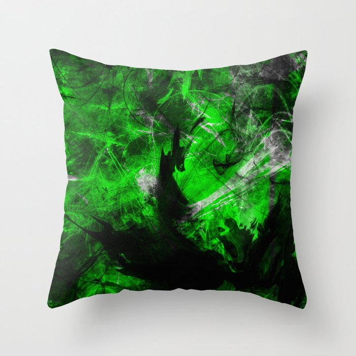 Emerald Blast - Abstract Black And Green Painting Throw Pillow by printpix