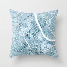Map Nashville Tennessee Blueprint City Map Throw Pillow