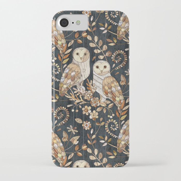 wooden wonderland barn owl collage iphone case