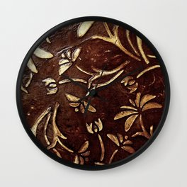 Old West - Embossed and gilded leather - original painting Wall Clock