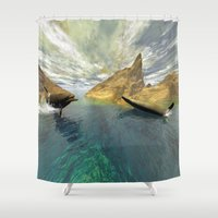 dolphins Shower Curtains featuring Dolphins by nicky2342