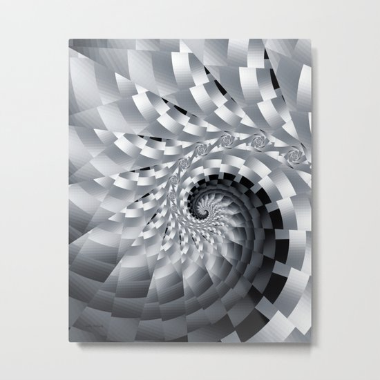 Bladed Black and White Spiral Metal Print