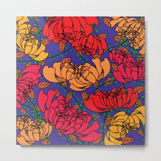 Flowery Pattern Blue Magenta Metal Print
