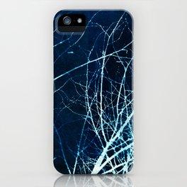 Twigs in Winter Cyanatope Print iPhone Case