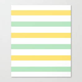 Yellow and Mint Stripes Canvas Print