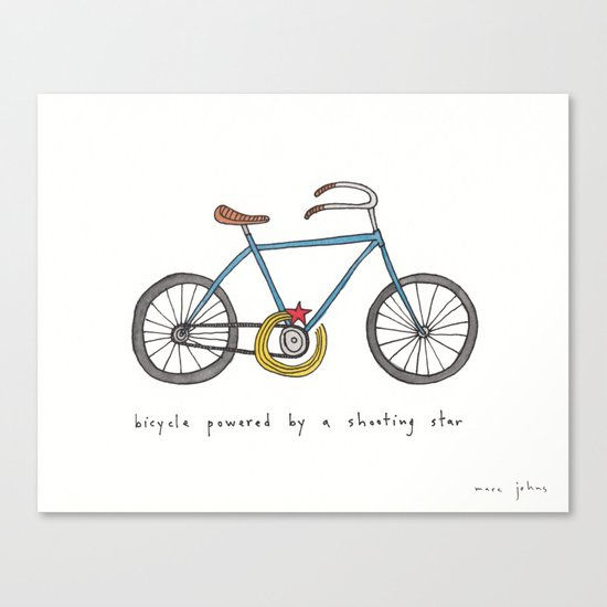 bicycle powered by a shooting star Canvas Print