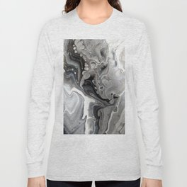 Fluid Acrylic Art - Black, Silver and White Long Sleeve T-shirt