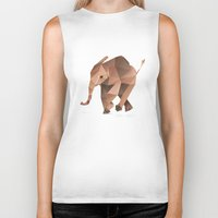 low poly Biker Tanks featuring Low Poly Elephant by The animals moved to - society6.com/dian