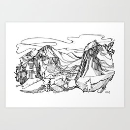 Conrad Kain Hut, Bugaboos, British Columbia Art Print