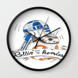 Rollin' with the homies Wall Clock