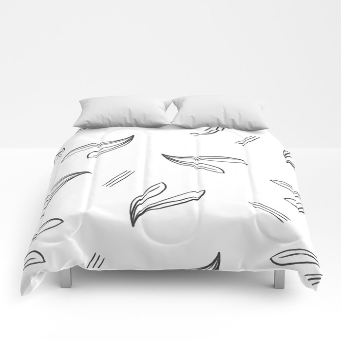 minimal botanical pattern Comforters
