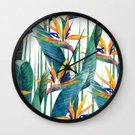 Watercolor strelitzia Wall Clock