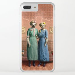 The Sloth Sisters at Home Clear iPhone Case