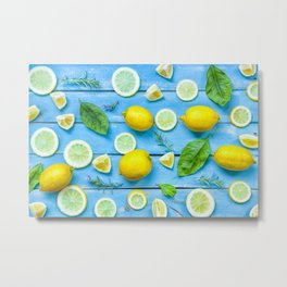 Fruits and leaves pattern (24) Metal Print