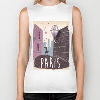 travel poster Biker Tanks featuring Vintage Paris Travel Poster cartoon by Nick's Emporium Gallery