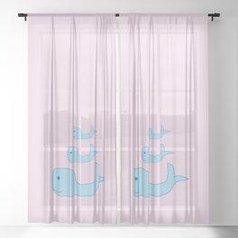 Cute Whales Sheer Curtain