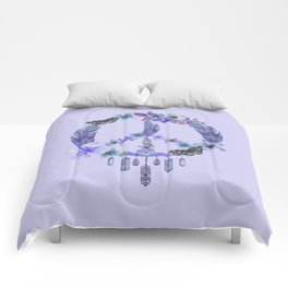 Purple Watercolor Peace Symbol Floral Dreamcatcher Comforters