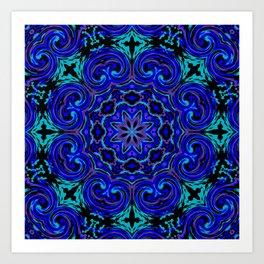 Bright Blue Kaleidoscope Art Print