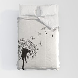 Black and White Dandelion Blowing in the Wind Comforters