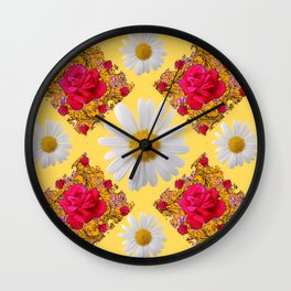 PINK ROSE & WHITE DAISIES YELLOW GARDEN ART Wall Clock