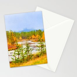Finland landscape watercolor painting Stationery Cards